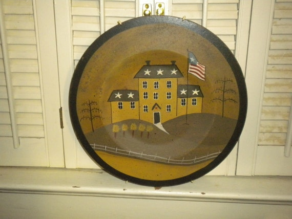 Primitive wooden Plate,home decor,country,folk,decorative plate