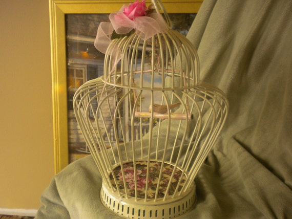 RESERVED ..........Upcycled Brass  Bird Cage,brass,upcycled,shabby chic,cottage,cottage chic,garden,hanging bird cage,home decor