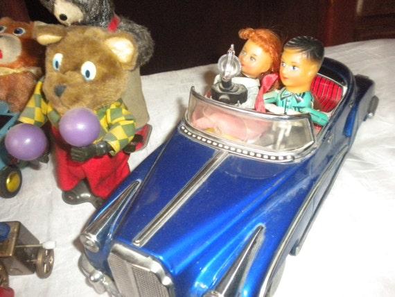 CLEARANCE SALE....TEN Piece VintageToys, collectable toys,tin toys,windup tin toys,vintage toys,collectables,50's car,retro