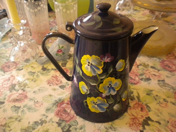 Vintage, Hand Painted, Coffee Pot,enamelware,french country,primitive,country,shabby chic,cottage,cottage chic,kitchen decor,tole style
