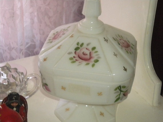 Vintage possible Fenton,West Morland, Covered Dish, milk glass, painted roses, home decor,cottage,french country,cottage chic