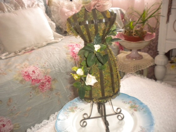 Lovely Shabby chic moss filled dress form.Cottage,Cottage chic,French country