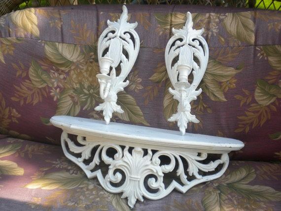 RESERVED..Bed Crown,Lovely 3 Piece Vintage Syroco Shelf and Sconces,French Country,Shabby Chic,Cottage