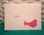 Set of 4 Hand Stamped Note Cards Bird Hello