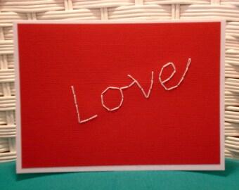 Handmade Embroidered Love Card