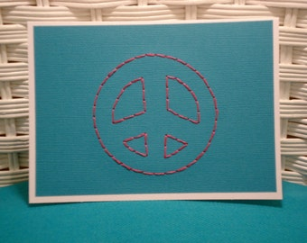Handmade Embroidered Peace Sign Card