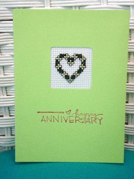 Handmade Cross Stitch Card Heart Happy Anniversary