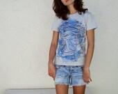 Silver T-Shirt Tee American Apparel Women's Medium Watercolor - Phillip is Fabulous