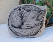 Forest Fox Pillow Grey Black White Wolf Woodland Hand Artwork Drawing