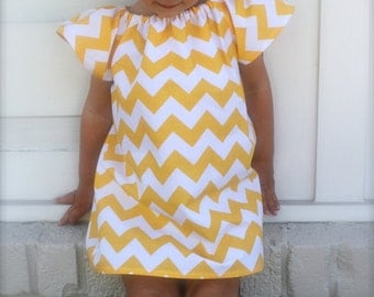 riley blake yellow chevron flutter sleeve dress - baby, toddler, girls