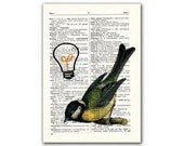 Sfairy, vintage illustration printed on Upcycled English Dictionary page. Buy 3 and get 1 FREE