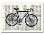 Bicycle Black and White, vintage illustration printed on Upcycled English Dictionary page. Buy 3 and get 1 FREE