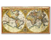 Orbis Terrarum De Integro from 1590, Vintage World map printed on parchment paper