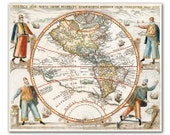 America Sive Novus from 1596, Vintage map printed on parchment paper