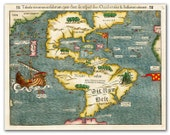 Tabula novarum insularum 1540 (first map of America), Vintage map printed on parchment paper