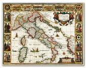 Map of Italia from 1676, Vintage map printed on parchment paper