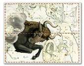 Zodiac Sign Taurus Constellation, vintage celestial map printed on parchment paper. Buy 3 and get 1 FREE