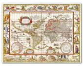 Nova Totius Terrarum Orbis from 1606, Vintage World Map printed on parchment paper
