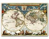 Nova et Accuratissima Terrarum, Reproduction of Vintage World Map from 1662 - 12x16'' (30x40cm)