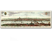 32x11'' Canvas Panoramic Print of City Landscape of London Town from 18th Century, Nursery Room Decor