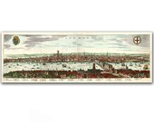 City Landscape of London Town, set of two vintage illustrations, printed on parchment paper - DejaVuPrintStore