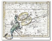 Zodiac Sign Libra Scorpio Constellations, vintage celestial map printed on parchment paper. Buy 3 and get 1 FREE