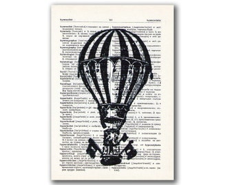Baloon Black and White, vintage illustration printed on Upcycled English Dictionary page. Buy 3 and get 1 FREE