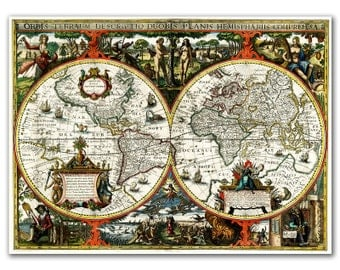 "13x17"" Antique World Map printed on parchment paper, Orbis Terrarum Descriptio Duobis Planis from 1617, Vintage map"