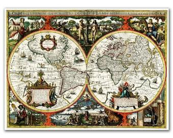 """13x17"""" Antique World Map printed on parchment paper, Orbis Terrarum Descriptio Duobis Planis from 1617, Vintage map"""