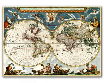 Nova et Accuratissima Terrarum, Reproduction of Vintage World Map from 1662 - 12x16'' (30x40cm)