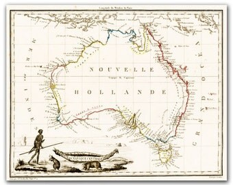 New Holland - Vintage Map of Australia from 1812,  printed on matte photo paperpaper 12x16 inch