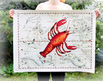 Choose 24 x 30'' Canvas Print - 60x74 cm Zodiac Constelations Astro Sign  Print on Fine Art Canvas Orange White Home decore Luxury Gify