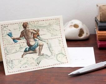 Zodiac Sign Aquarius Constellation Greeting Card