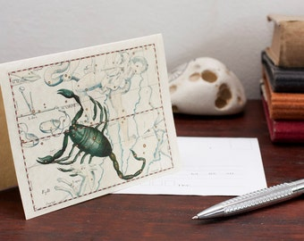 Zodiac Card Scorpio Sign Constellation Greeting Card Printable Digital File Instant Download Birthday Card PDF Download File Christmas Card