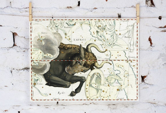 Zodiac Sign Taurus Constellation, vintage celestial map 10x16 inch (32x40 cm) on Fine Art Canvas