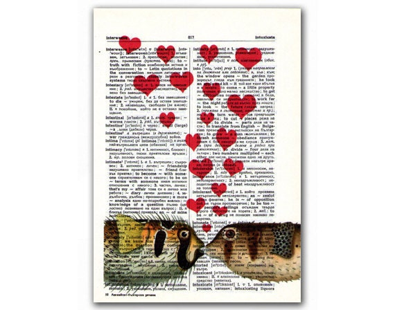 Love, vintage illustration printed on Upcycled English Dictionary page. Buy 3 and get 1 FREE
