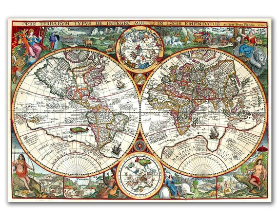 Orbis Plancius from 1594, Vintage World map printed on Parchment paper
