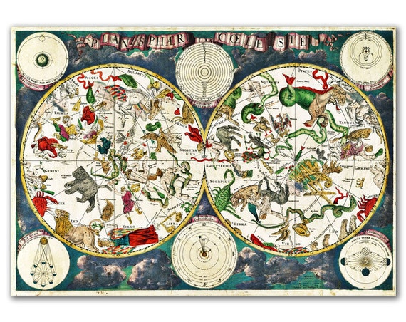 Zodiacal Signs Planisphaeri Coeleste from 1680, Vintage Celestial map printed on parchment paper, nursery art, nursery room decor