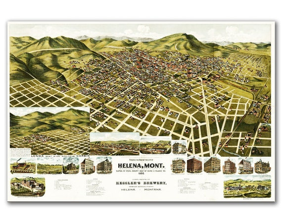 Bird eye view of the town of Helena, Montana from 1890, Vintage map printed on parchment paper