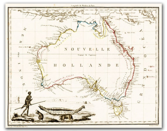 New Holland - Vintage Map of Australia from 1812,  printed on parchment paper  8x11 inch - 21x30 cm