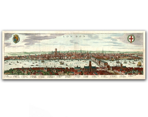 City Landscape of London Town, set of two vintage illustrations, printed on parchment paper