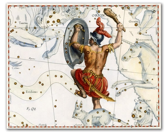 Orion Constellation, vintage celestial map printed on parchment paper. Buy 3 and get 1 FREE
