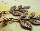 Vintage Leaf Copper Pearl Earrings, Branch Earrings, Idea Gift: Free Shipping