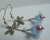 Silver Dragonfly on Blue Flower Earrings, blue lucite bell flower and light purple pearl: Free Shipping