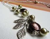 Silver Branch Necklace, Olive Green Pearls on a Silver Leaf Necklace,  olivine Swarovski pearls,bronze glass coin pearls, Pendant necklace