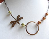Simply Dragonfly in Nature Necklace, Olivine Pearls, Copper Ring, Everyday Jewelry, Dragonfly, Green Pearl necklace, Nature : Free Shipping