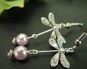Purple Lavender Silver Dragonfly Earrings: Free Shipping