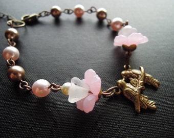 Loving Birds Bracelet, Pink Pearl and Flower, Bronze Swarovski Pearl, Branch Brass, Birds: Free Shipping