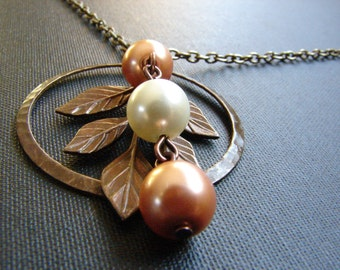 Pearls on the Leaf Necklace, Pearl Pendant, Branch Necklace, Vintage Ring: Free Shipping