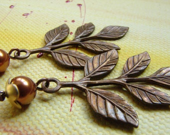 Vintage Leaf Copper Pearl Earrings, Branch Earrings, Idea Gift: Free Shipping